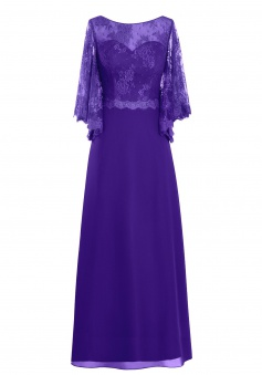 Modren Scoop A-line Appliques Long Sleeves Purple Mother of the Bride Dress