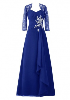 Dignified Sweetheart Royal Blue Mother of the Bride Dress with Beading Lace  3/4 Sleeves Shawl