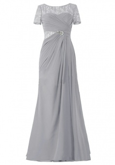Illusion Lace Bateau Neckline Long Mother of the Bride Dress