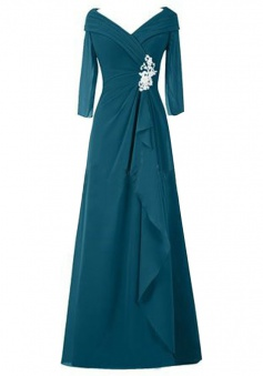 Long Pleated V-Neck Mother of the Bride Dress with Long Sleeves