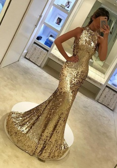 Mermaid Round Neck Sweep Train Champagne Sequined Prom Dress