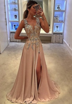 A-Line Deep V-Neck Sweep Train Champagne Chiffon Prom Dress with Appliques