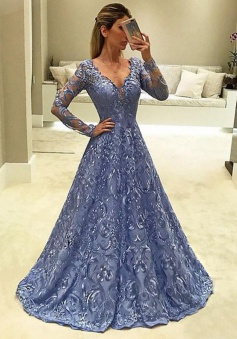A-Line V-Neck Long Sleeves Light Sky Blue Lace Prom Dress