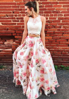 Two Piece Round Neck Floral Chiffon Prom Dress with Appliques