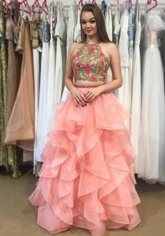 Two Piece Round Neck Tiered Pink Open Back Prom Dress with Appliques