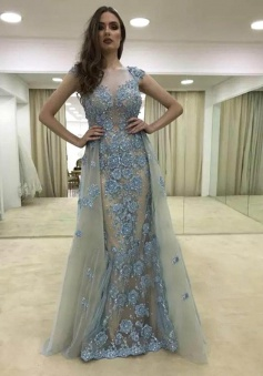 Sheath Illusion Round Neck Blue Tulle Prom Dress with Appliques
