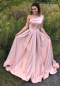 A-Line One Shoulder Pleated Pink Satin Prom Dress with Ruffle