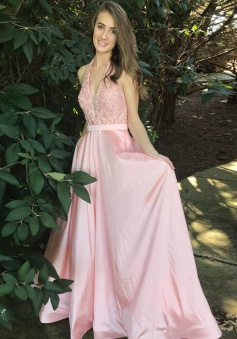 A-Line Halter Floor-Length Pink Satin Prom Dress with Sash Lace