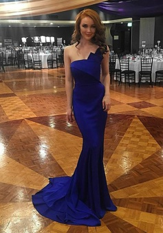 Mermaid One Shoulder Sweep Train Royal Blue Prom Dress with Ruffles