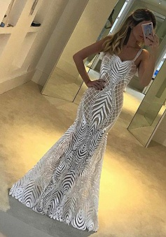 Mermaid Straps Floor-Length Sleeveless White Lace Prom Dress