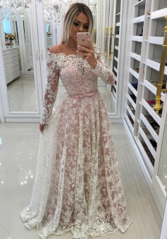 A-Line Off-the-Shoulder White Tulle Prom Dress with Lace Appliques Sleeves