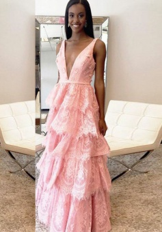 A-Line Deep V-Neck Tiered Pink Lace Backless Prom Dress with Appliques