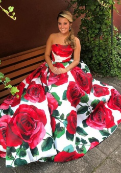 A-Line Sweetheart Floor-Length Red Rose Floral Prom Dress