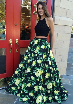 Two Piece Halter Floor-Length Black Floral Satin Prom Dress with Appliques