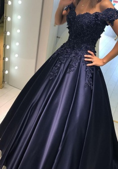 A-Line Off-the-Shoulder Sweep Train Navy Blue Prom Dress with Appliques Beading