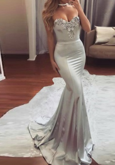 Mermaid Sweetheart Sweep Train Silver Elastic Satin Prom Dress with Beading