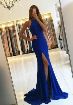 Mermaid Round Neck Royal Blue Elastic Satin Prom Dress with Split Cut Out