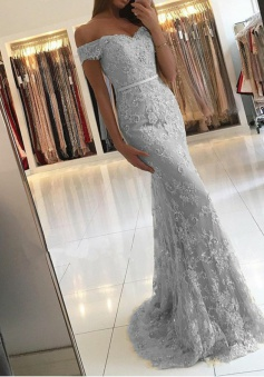 Mermaid Off-the-Shoulder Light Gray Lace Prom Dress with Appliques Sequins