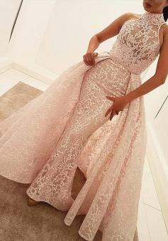 Mermaid High Neck Court Train Detachable Light Pink Lace Prom Dress
