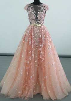 A-Line Bateau Floor-Length Peach Tulle Prom Dress with Sequins Appliques