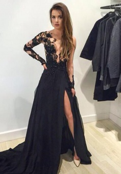 A-Line V-Neck Sweep Train Long Sleeves Split-Side Black Chiffon Prom Dress with Appliques