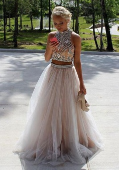 Two Piece High Neck Open Back Light Pink Tulle Prom Dress with Beading
