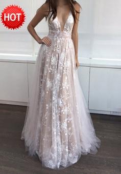 A-Line Deep V-Neck Floor-Length Sleeveless Champagne Tulle Prom Dress
