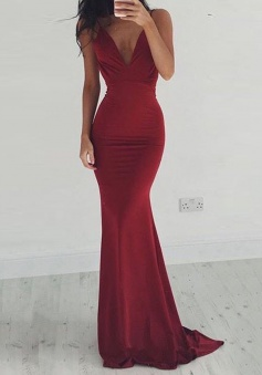 Mermaid Deep V-Neck Sweep Train Backless Burgundy Stretch Satin Prom Dress
