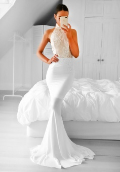 Mermaid High Neck Backless Sweep Train White Prom Dress with Appliques