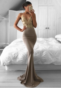 Mermaid Spaghetti Straps Sweep Train Gray Prom Dress with Appliques
