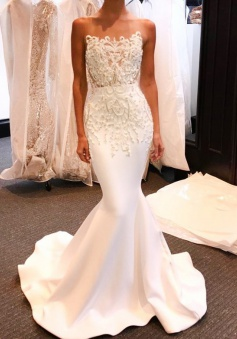 Mermaid Bateau Illusion Back Long White Prom Dress with Appliques Beading