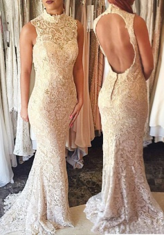 Mermaid High Neck Sweep Train Open Back Ivory Lace Prom Dress