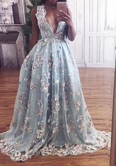 A-Line Deep V-Neck Floor-Length Light Sky Blue Prom Dress with Appliques