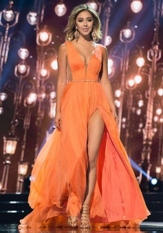 Sheath Deep V-Neck Sweep Train Split-Side Orange Chiffon Prom Dress with Sash