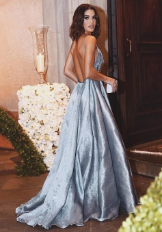 A-Line Spaghetti Straps Sweep Train Backless Grey Stretch Satin Prom Dress with Appliques Beading