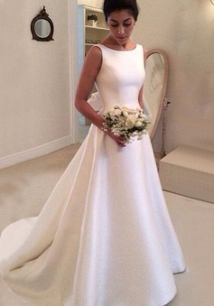 Simple Bateau Backless Court Train A-Line Wedding Dress with Bowknot