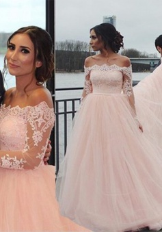 Pretty Off Shoulder Long Sleeveless Sweep Train Wedding Dress with Lace Beading