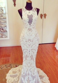Mermaid Lace Sweep Train Jewel Sweep Train Wedding Dress
