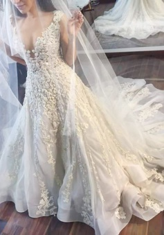 A-line Jewel Illusion Back Court Train Wedding Dress with Lace Appliques