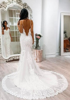 Mermaid Wedding Dress - Spaghetti Straps Court Train Backless White Tulle Appliques Lace
