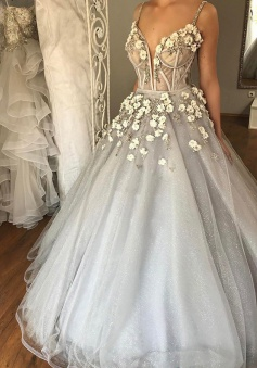 Ball Gown Spaghetti Straps Court Train Grey Tulle Wedding Dress with Appliques Beading