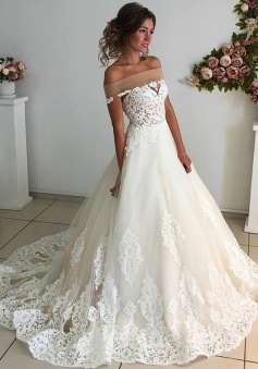 32e4018d32 42%OFF. A-Line Off-the-Shoulder Court Train Sleeveless Ivory Tulle Wedding  Dress with Appliques