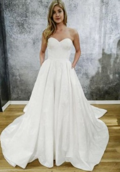 A-Line Sweetheart Court Train Satin Wedding Dress with Pockets