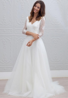 A-Line V-Neck Open Back 3/4 Sleeves Beach Wedding Dress with Lace