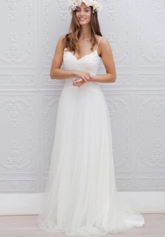 A-Line Spaghetti Straps Sweep Train Beach Wedding Dress Ruched