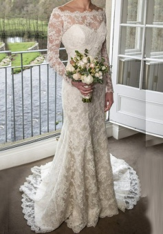 Sheath Off-the-Shoulder Long Sleeves Sweep Train Lace Wedding Dress