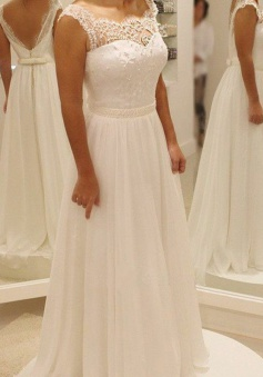 A-Line Square Floor-Length Chiffon Wedding Dress with Lace Beading