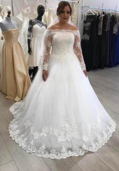 A-Line Off-the-Shoulder Long Sleeves Lace Boho Wedding Dress