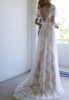 A-Line V-Neck Sweep Train Light Champagne Lace Boho Wedding Dress