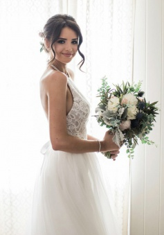 A-Line Halter Backless Court Train Tulle Wedding Dress with Lace